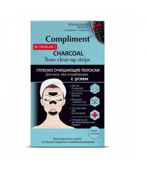 Compliment No Problem Глубоко очищающие полоски для носа, лба и подбородка с углем 6 шт