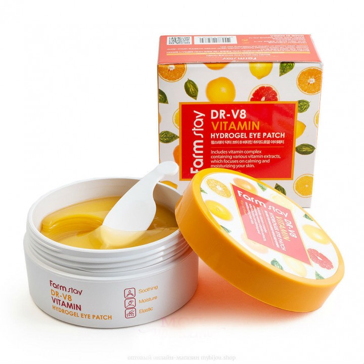 Farmstay Гидрогелевые патчи вокруг глаз с витаминами DR-V8 Vitamin Hydrogel Eye Patch 60 шт