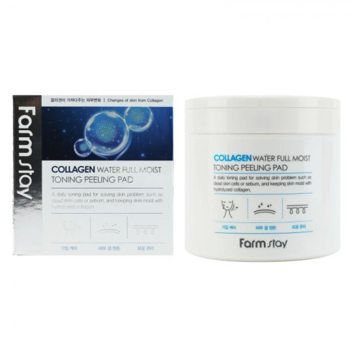 Farmstay Пилинг-спонжи для лица с коллагеном Collagen Water Full Moist Toning Peeling Pad 70 шт 200г