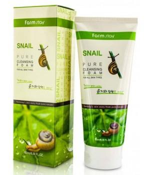 Farmstay Пенка для умывания с экстрактом улитки Snail Pure Cleansing Foam 180 мл