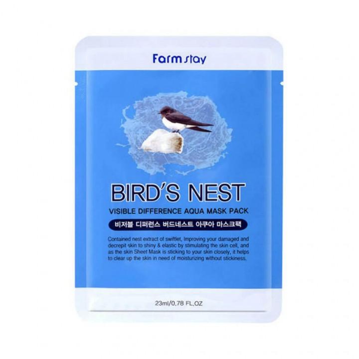 Farmstay Тканевая маска для лица с экстрактом ласточкиного гнезда Visible Difference Mask Sheet Birds Nest 23 мл