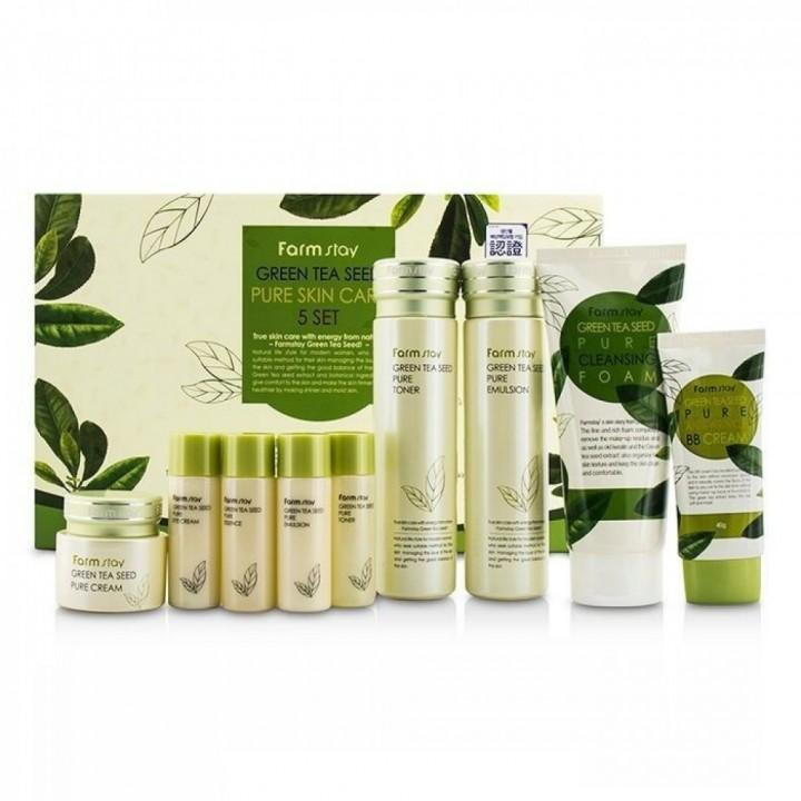Farmstay Набор для лица на основе зеленого чая Green Tea Seed Pure Skin Care 5 Set 5 предметов