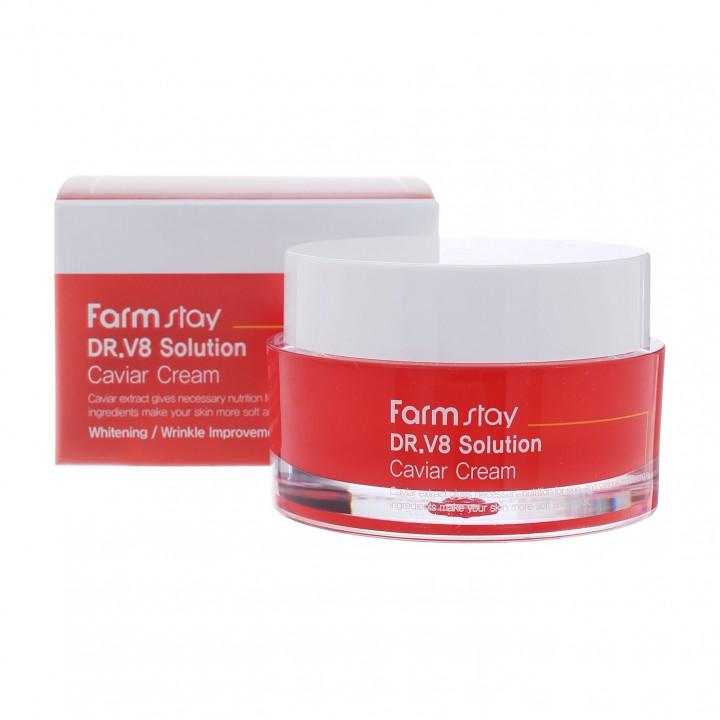 Farmstay DR.V8 Solution Крем для лица с экстрактом икры 50 мл