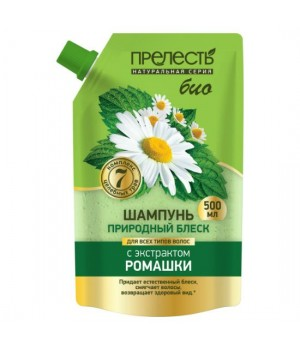 Прелесть Bio Шампунь для волос Природный блеск с экстрактом ромашки дой-пак 500 мл