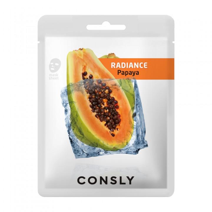 Consly Выравнивающая тон кожи тканевая маска с экстрактом папайи 20 мл
