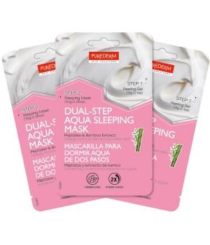 Purederm Маска-набор Двойной уход: Отшелушивающий гель + Аква-маска ночная с пептидами и экстрактом бамбука 39 мл