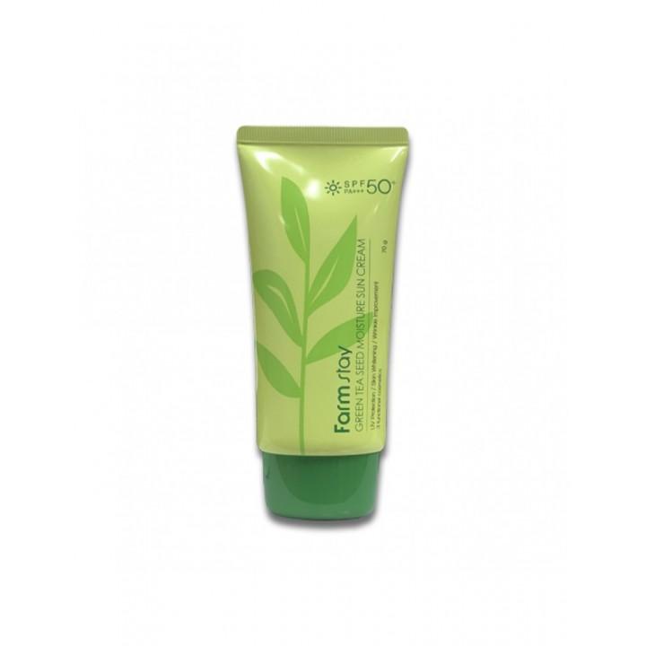 Farmstay Солнцезащитный увлажняющий крем для лица с зеленым чаем Green Tea Seed Moisture Sun Cream SPF50+ PA+++ 70 мл